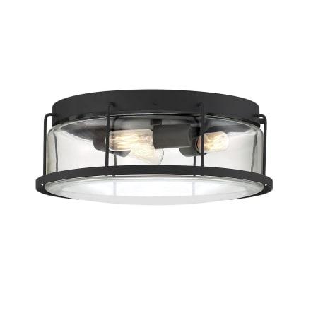 Bellevue Mvcf3632etblk Earth Black Duplin 3 Light 14 Wide Flush Mount Drum Ceiling Fixture With Clear Glass Shade Lightingshowplace Com