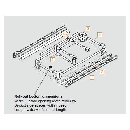 Blum 230m5000 White 230m Series 20 Inch 3 4 Extension Bottom Mount