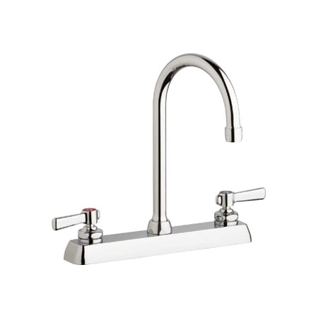 Chicago Faucets W8d Gn2ae35 369ab Chrome Commercial Grade Centerset Kitchen Faucet With Lever
