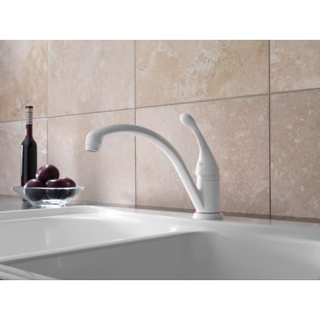 Delta 141 Wh Dst White Collins Kitchen Faucet Includes