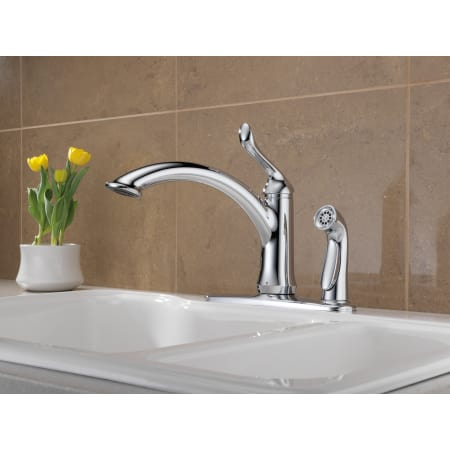 delta 3353-dst chrome linden kitchen faucet with side