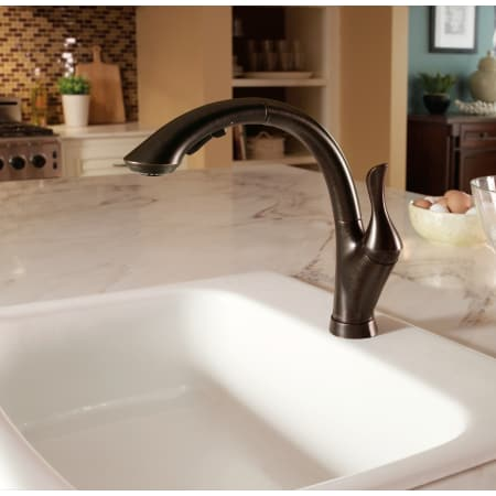 Delta 4153 Dst Chrome Linden Pull Out Kitchen Faucet With