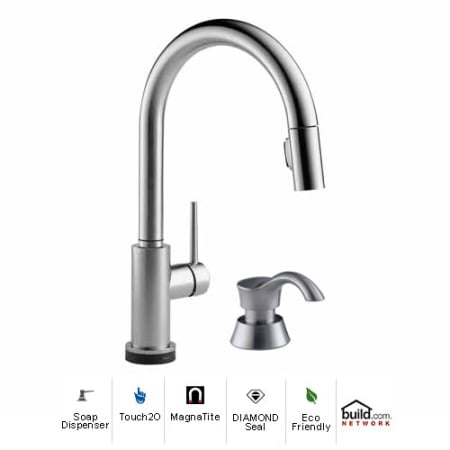 Delta 9159T-AR-DST-SD Arctic Stainless Trinsic Pull-Down Kitchen ...