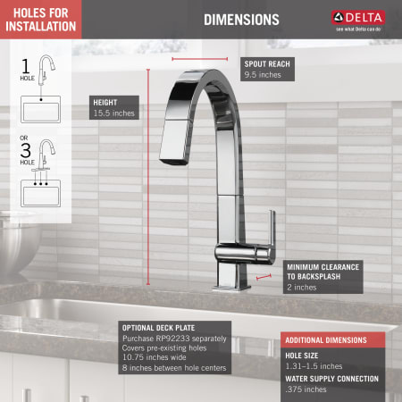 Delta 9193 Ar Dst Arctic Stainless Pivotal 1 8 Gpm Single