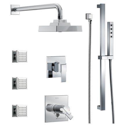 Delta dss ara 17t03 chrome tempassure 17t series thermostatic shower system with integrated for Delta bathroom shower systems