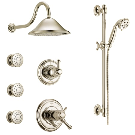 Delta Dss Cidy 17t03 Chrome Tempure 17t Series Thermostatic Shower System With Integrated Volume Control Head 3 Body Sprays And Hand