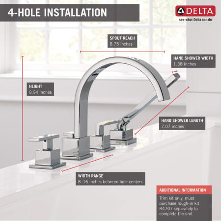 Delta T4753 Ss Brilliance Stainless Vero Deck Mounted