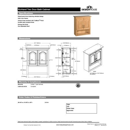 Design House 552844 Oak Double Door Bath Cabinet Shelf Large