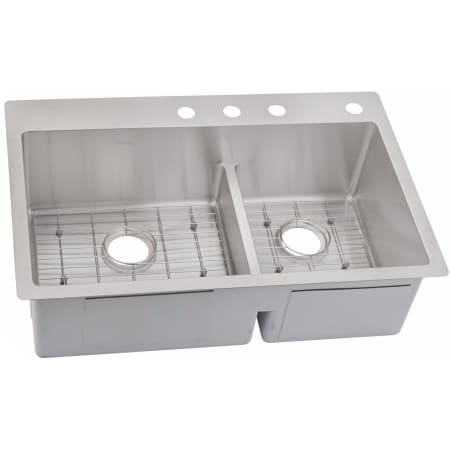 Elkay Ectsrao33229bg4 4 Faucet Holes Crosstown 33 X 22 Double Basin Stainless Steel Kitchen Sink With Aqua Divide Plus Sink Grids