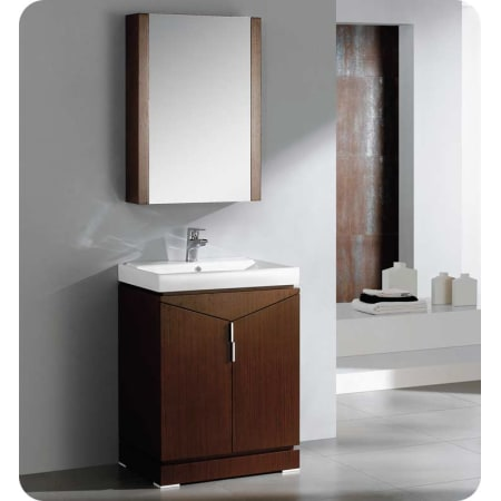Fresca fvn8123wg wenge brown elissos 24 engineered wood for Wenge bathroom mirror