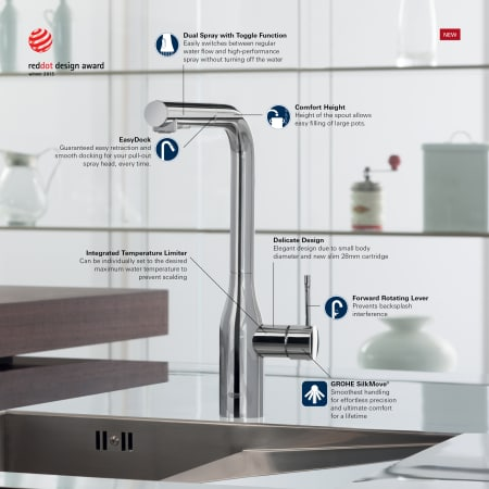 Grohe 32170dc0 Supersteel Essence Pull Out Kitchen Faucet