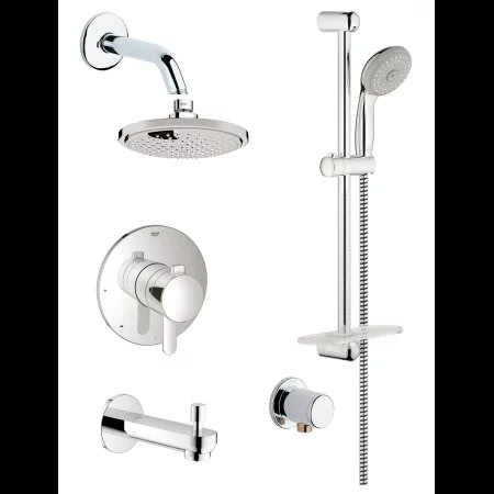 Starlight Chrome Europlus Pressure Balanced Shower System With Rain Shower  Head, Handshower, Slide Bar, Wall Supply, Tub Spout, Integrated Diverter  And ...