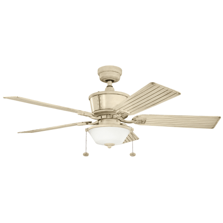 Kichler 300162aw Aged White 52 Quot Outdoor Ceiling Fan With Blades Light Kit Downrod And Pull