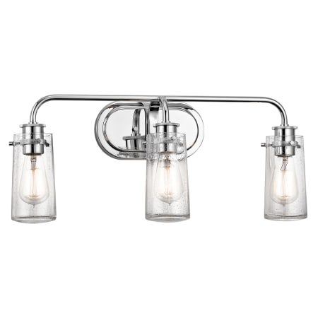 Kichler 45459ch chrome braelyn 3 light 24 wide bathroom vanity kichler 45459ch chrome braelyn 3 light 24 wide bathroom vanity light with seedy glass shades aloadofball Image collections