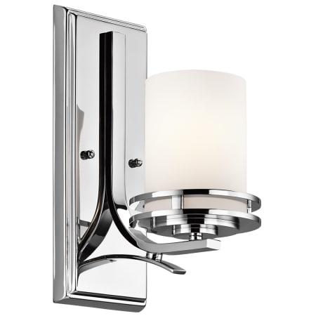 Kichler CH Chrome Hendrik Single Light Tall Wall Sconce With - Chrome bathroom sconce with shade