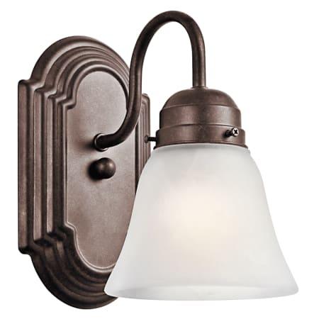 Kichler 5334tz Tannery Bronze Wide Single Bulb Bathroom Lighting Fixture