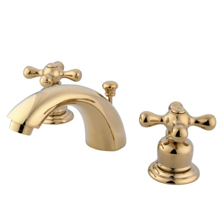 Kingston Brass Gkb942ax Polished Brass Victorian Mini Widespread Bathroom Faucet With Pop Up Drain Assembly And Metal Cross Handles Faucetdirect Com