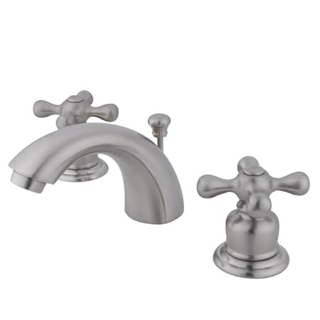 Kingston brass gkb948ax satin nickel victorian mini widespread bathroom faucet with pop up drain for Victorian widespread bathroom faucet cross handles