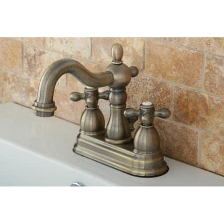 Kingston brass kb1603ax antique brass heritage centerset - Antique brass bathroom faucet centerset ...