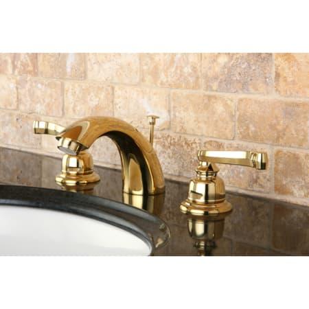 Kingston Brass KB8952FL Royale Mini Widespread Bathroom Faucet with Brass Pop-Up Drain Polished Brass