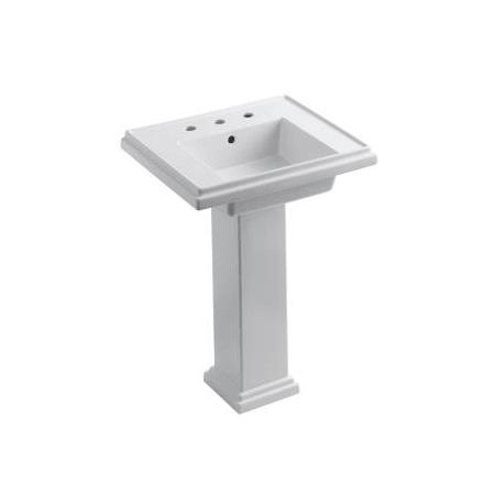 """Kohler K-2844-4-0 White Tresham 24"""" Pedestal Bathroom Sink ..."""