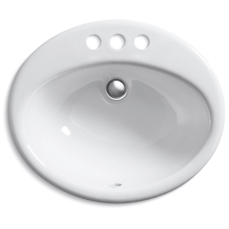 Kohler K 2905 4 0 White Farmington 19 1 4 Oval Cast Iron Drop In Bathroom Sink With Overflow And 3 Faucet Holes At 4 Centers Faucetdirect Com