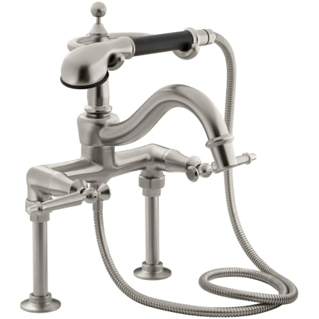 Kohler K 110 4 Bn Brushed Nickel Double Handle Roman Tub Faucet With Metal Lever Handles And