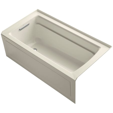 Kohler K 1123 La 47 Almond Archer Collection 60 Three Wall Alcove Soaker Bath Tub With Armrests