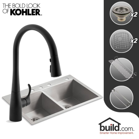 Kohler K-3820-4/K-596-BL Matte Black Faucet Vault Kitchen Kit with ...