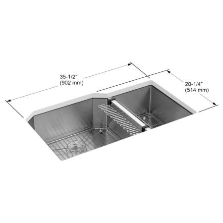 Kohler K 5282 Na Stainless Steel Strive 36 Quot Double Basin