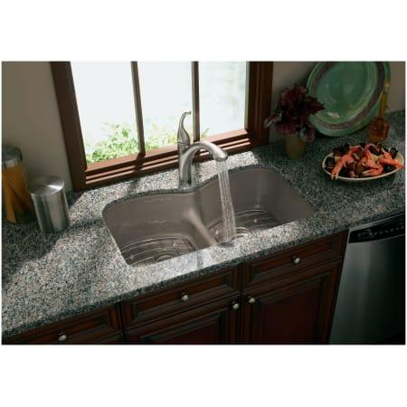 Kohler K 6626 6u 0 White Langlade 33 Double Basin Under Mount Enameled Cast Iron Kitchen Sink With Smart Divide Faucet Com