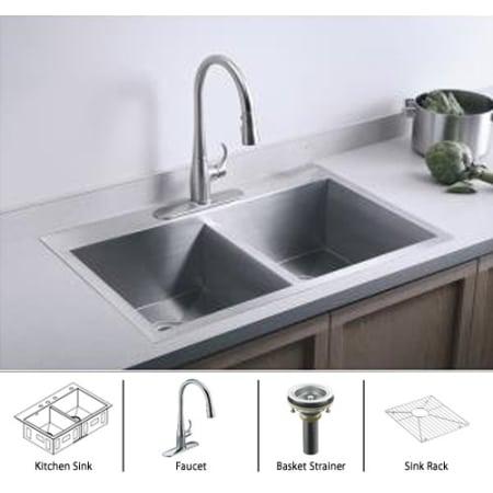 Kohler Vault K 3820 1 Package Cp Stainless Sink Polished