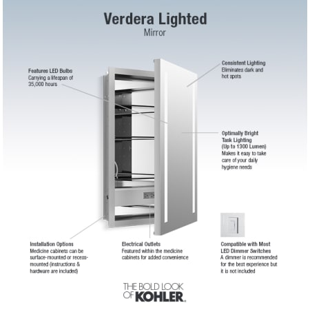 Kohler K 99003 Tl Na N A Verdera 30 Quot H X 20 Quot W Lighted Mirrored Medicine Cabinet With Plain Mirror