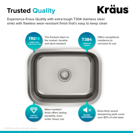 Kraus Kbu12 Stainless Steel 23 Quot Single Basin 16 Gauge Stainless Steel Kitchen Sink For