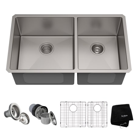 Kraus Khu103 33 Stainless Steel 32 3 4 Quot Double Basin 16