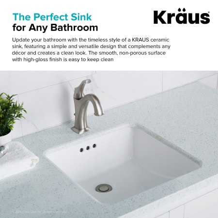 Kraus Kcu 231 White Elavo 17 Quot Vitreous China Undermount Bathroom Sink With Overflow