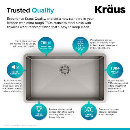 Kraus Khu100 30 Stainless Steel 30 Single Basin 16 Gauge Stainless Steel Kitchen Sink For Undermount Installations Basin Rack And Basket Strainer Included Faucetdirect Com