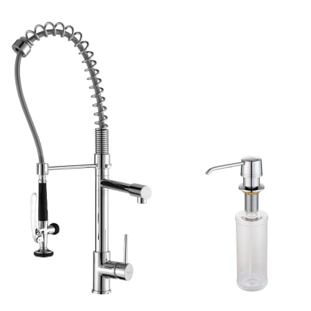 Kraus KPF 1602 KSD 30CH Chrome Commercial Style Pot Filler Kitchen Faucet  With Pre Rinse Spray And Soap Dispenser