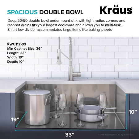 Kraus Kwu112 33 Stainless Steel Kore 33 Quot Undermount Double Basin Stainless Steel Kitchen Sink