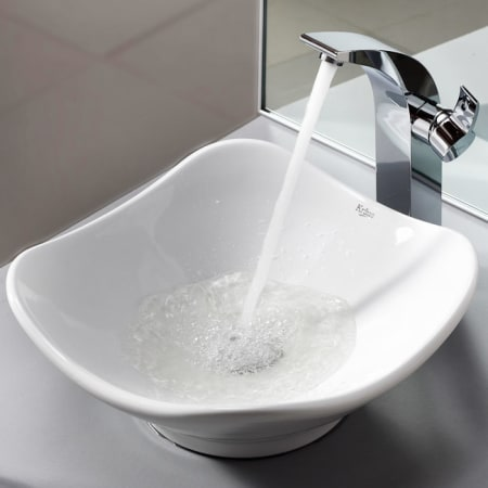 Kraus C Kcv 135 14700ch Chrome Bathroom Combo 15 4 5 Quot Ceramic Vessel Bathroom Sink With Vessel