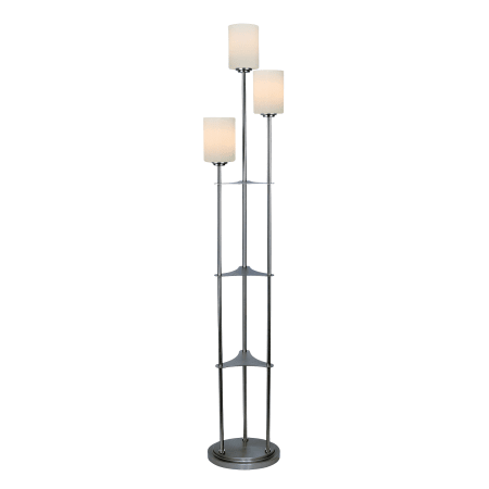 Lite Source Lsf 80700bn Brushed Nickel Bess 3 Light Floor Lamp With White Glass Shades