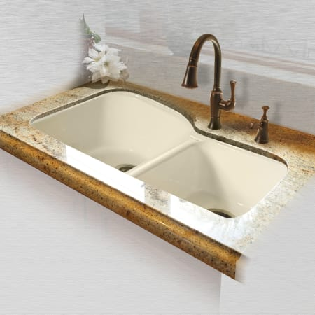 Miseno Mci68 4um 22 Biscuit 33 Double Basin Undermount Cast Iron