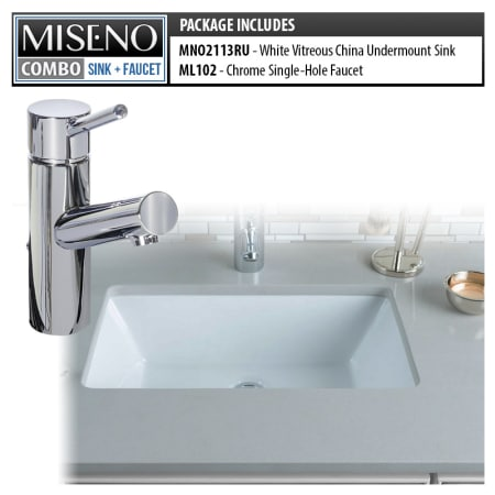 Miseno Mno2113ru Ml102 Pc White Polished Chrome Bathroom Combo