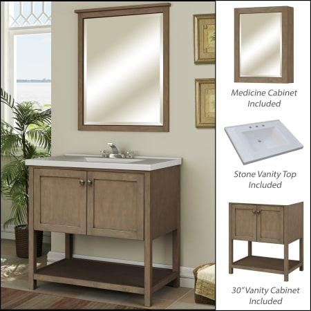 Miseno Mvan30com Sand Dollar 30 Bathroom Vanity Set Cabinet Stone Top And Medicine Cabinet