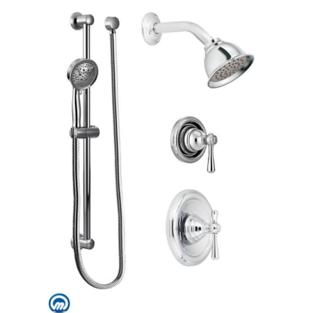 Moen 525 Chrome Pressure Balanced Shower System With Shower Head Diverter And Hand Shower From