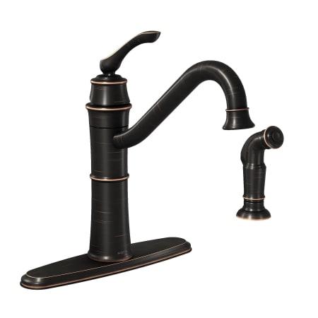 60fc85df6d2 Moen 87999BRB Mediterranean Bronze High-Arc Kitchen Faucet with Side ...