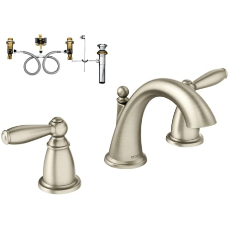Moen t6620bn 9000 brushed nickel double handle widespread bathroom faucet from the brantford for Moen brantford bathroom collection