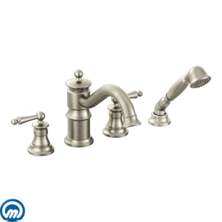 moen tub faucets brushed nickel. Moen TS213  Click To Zoom Brushed Nickel TS213BN Deck Mounted Roman Tub Faucet Trim With