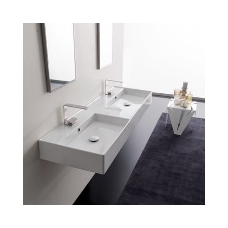 Nameeks Scarabeo 5116 2hole White Teorema 2 Double Bathroom Sink