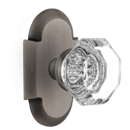 Nostalgic Warehouse 712964 Antique Brass Vintage Luxe Waldorf Lead Crystal Octagon Privacy Door Knob Set With Solid Brass Cottage Style Plate And 2 3 8 Backset Faucetdirect Com